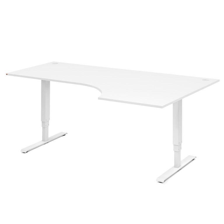 Reguliuojamo aukščio kampuotas stalas Adeptus Baltas/Dešinė/1800