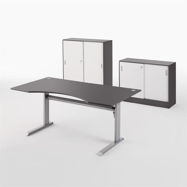Biuro baldų komplektas: stalas + 2 spintelės stumdomomis durimis