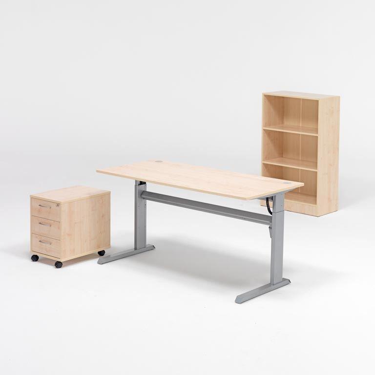 Komplektas: reguliuojamo aukščio stalas, lentyna, stalčių spintelė, beržo laminatas