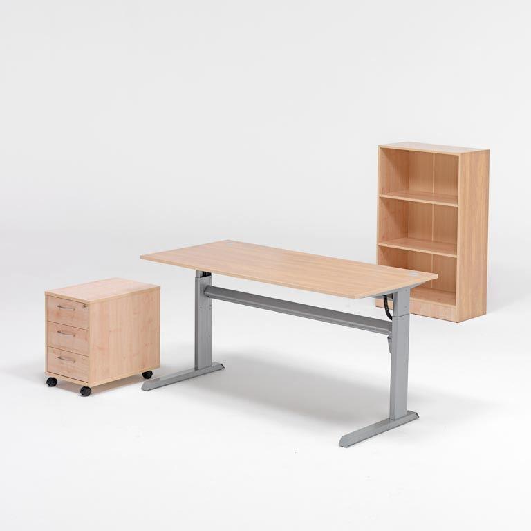 Komplektas: reguliuojamo aukščio stalas, lentyna, stalčių spintelė, pilkas laminatas