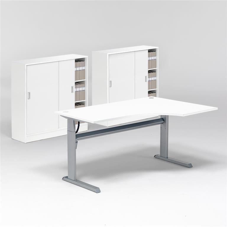Komplektas: reguliuojamo aukščio stalas, 2 spintelės su užtr. durimis/Dešinė
