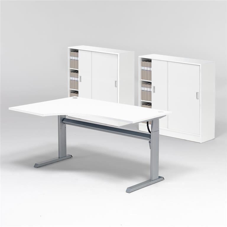 Komplektas: reguliuojamo aukščio stalas, 2 spintelės su užtr. durimis/Kairė