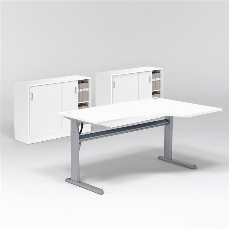 Reguliuojamo aukščio stalas, 2 spintelės su užtraukiamomis durimis/Dešinė