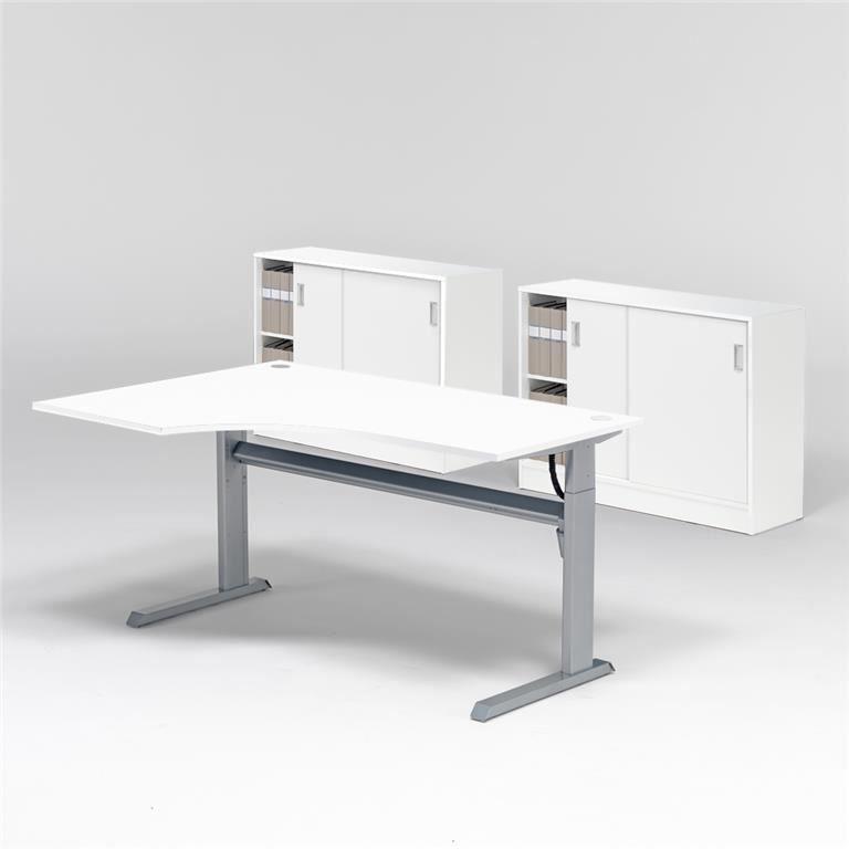 Reguliuojamo aukščio stalas, 2 spintelės su užtraukiamomis durimis/Kairė