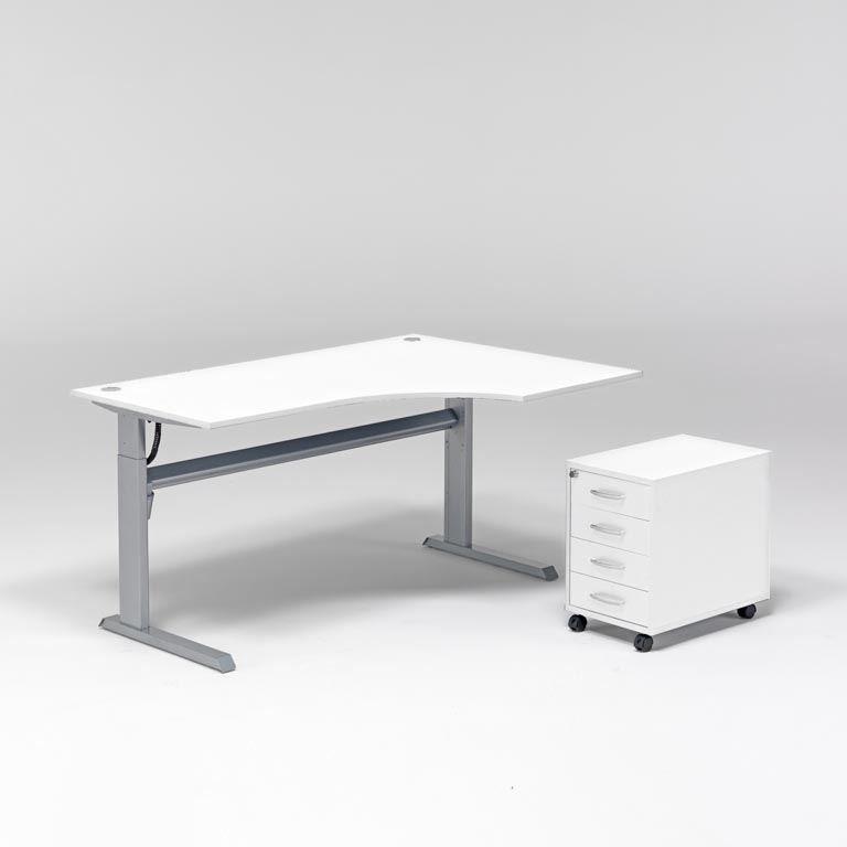 Komplektas: reguliuojamo aukščio stalas + 4 stalčių spintelė/Dešinė