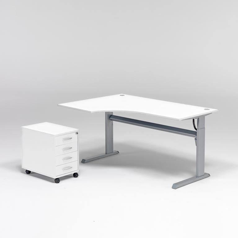 Komplektas: reguliuojamo aukščio stalas + 4 stalčių spintelė/Kairė