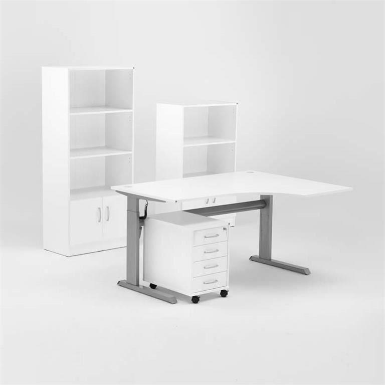 Komplektas: stalas + 4 stalčių spintelė + 2 lentynos su durelėmis/Dešinė