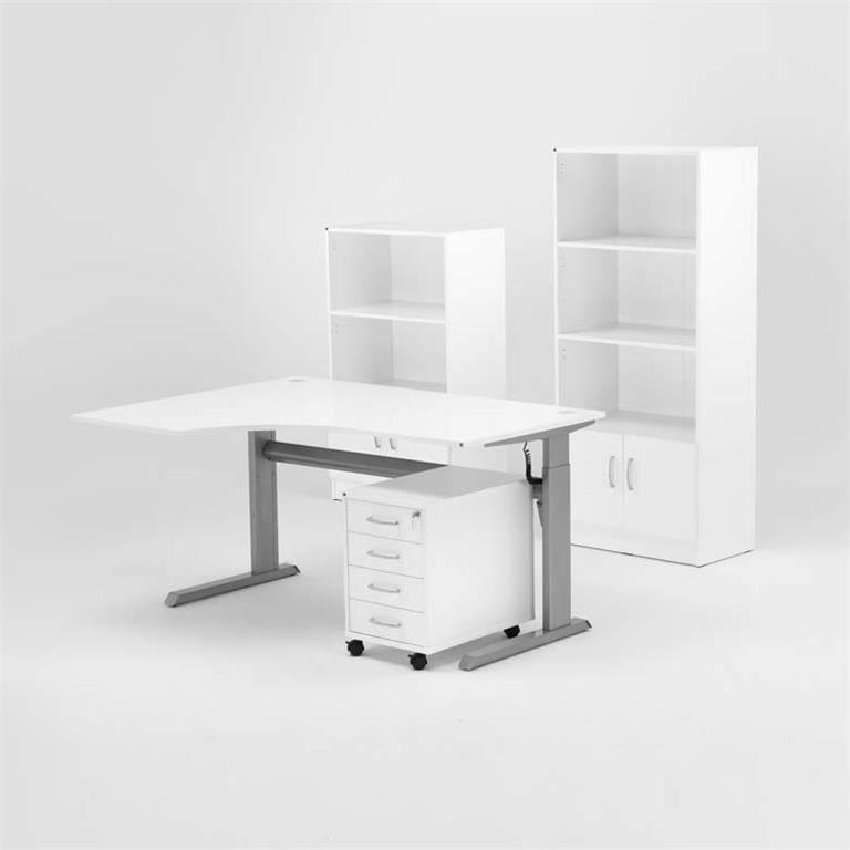 Komplektas: stalas + 4 stalčių spintelė + 2 lentynos su durelėmis/Kairė