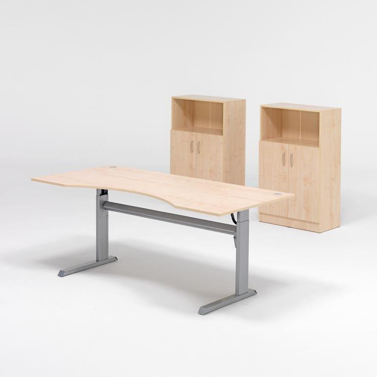Komplektas: reguliuojamo aukščio stalas, 2 spintelės su durelėmis